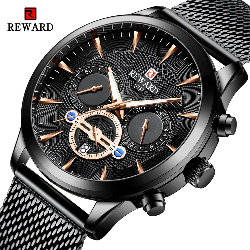 REWARD Fashion Mens Business Watches Top Brand Luxury Full Steel Black Gold Quartz Watch Men Date Calendar Waterproof Wristwatch