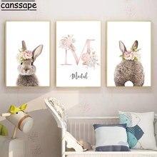 Картина из холста с кроликом для девочек, постер на заказ, рисунок кролика, детская Настенная картина с розовым цветком, украшение для детск...