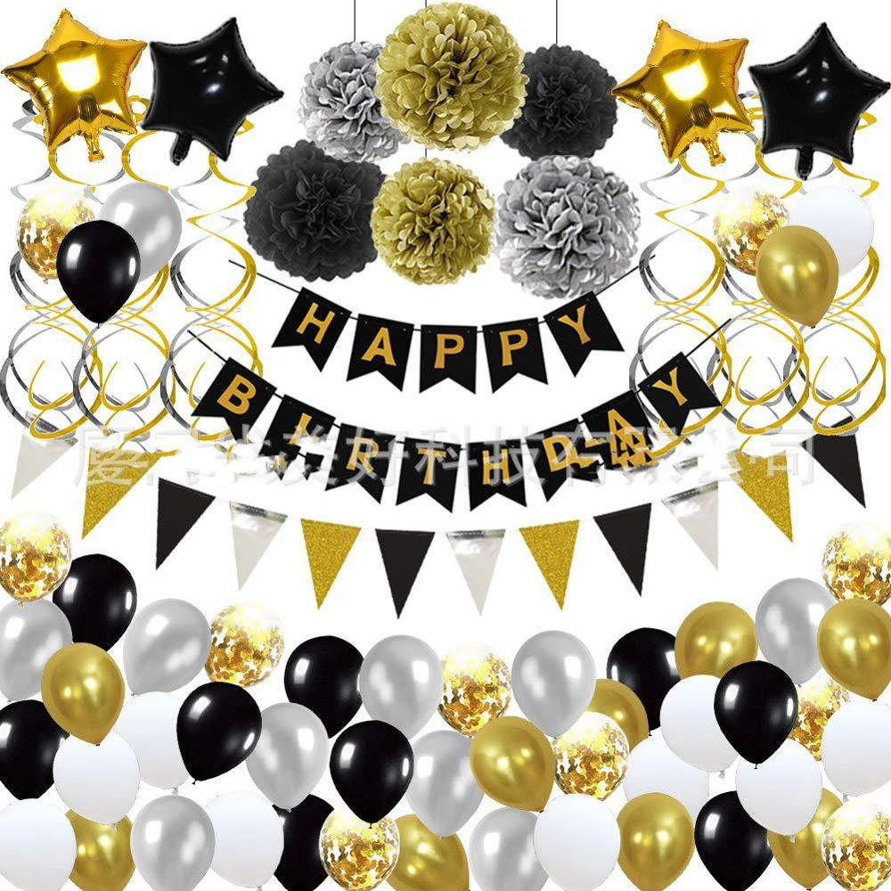 Black Gold Theme Baby Party Decorations Set Newborn Baby Boys Girls Birthday Party Baby Shower Party Children's Day