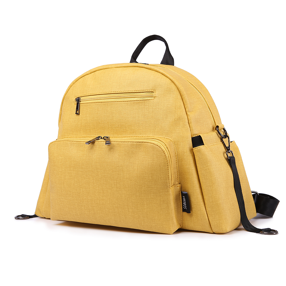 Stylish Multi-function Mother Diaper Bag Yellow PU Waterproof Stroller Bag With 2 Straps Large Capacity Fashion Maternity Bags