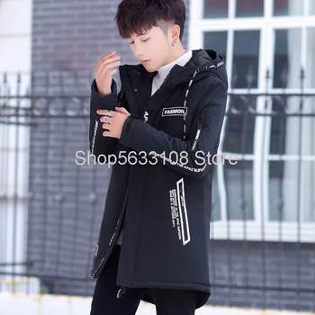 Winter Men's Medium Length Cotton-padded Jacket Male Thicken Cotton-padded Jacket Teenagers Handsome With Cap Coat Male