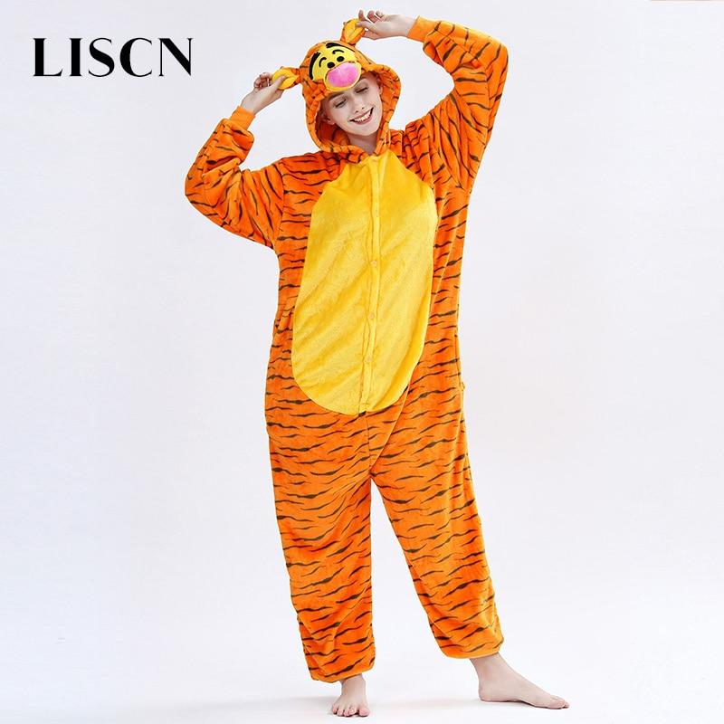 2019 New Winter Women Kugurumi Flannel Pajama Onsie Cute Animal Tiger Unicorn Pajamas Men Nightie Funny Overal Sleepwear