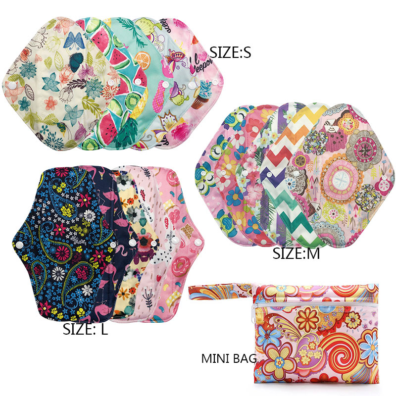 [Mumsbest] 15PCS Bamboo Charcoal Sanitary Pad Maternity Pads Washable Reusable Print Color 3 Size Cloth Pads With 1 PCS Mini Bag