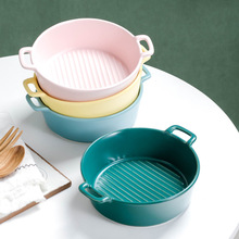 430Ml Creative Striped Ceramic Bowl with Handle Soup Bowl Salad Instant Noodle Bowl Pasta 5 6 8 inch japanese cherry blossom ceramic ramen bowl large instant noodle rice soup salad bowl container porcelain tableware
