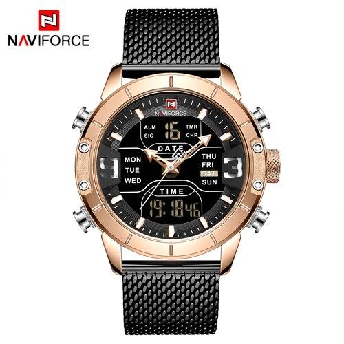Top Luxury Brand Men Sports Watches New NAVIFORCE Watches  Men's Quartz LED Digital Clock Male Full Steel Military Wristwatch