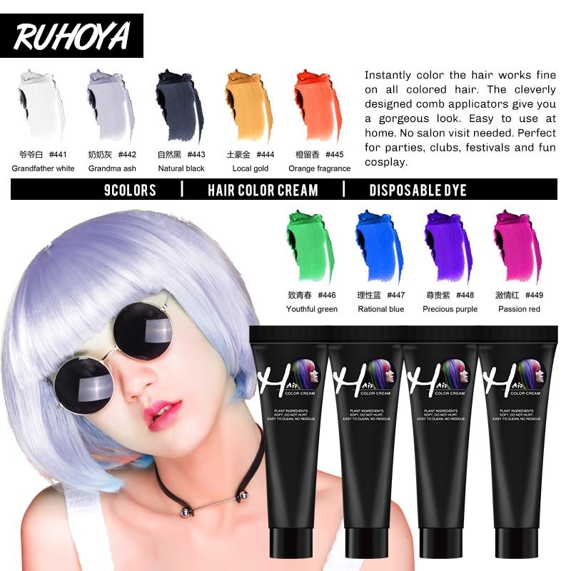 Ruhoya Punk Style 9 Colors Salon Hair Color Cream Hair Dye Mascara Cream Non-toxic DIY Hair Dye Hair Care