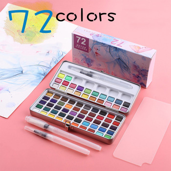 36 colors art solid pigment professional box with paintbrush portable set portable colored pencils for drawing paint watercolors 72 Colors Solid Watercolor Paint Set Portable Box Pigment With Water Brush For Professional Painting DIY Stationery Art Supplies