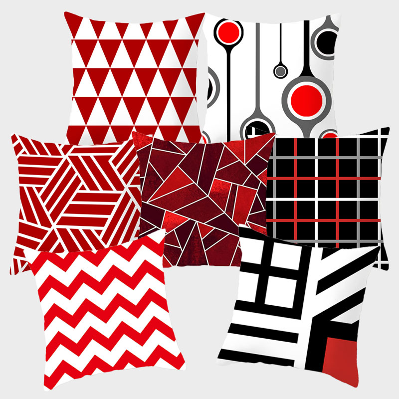 Red Cushion Covers Decorative Pillows Pillow Cover 45x45 Geometric Lip Pillowcase Throw Pillow For Couch Sofa Pillowcover 10069