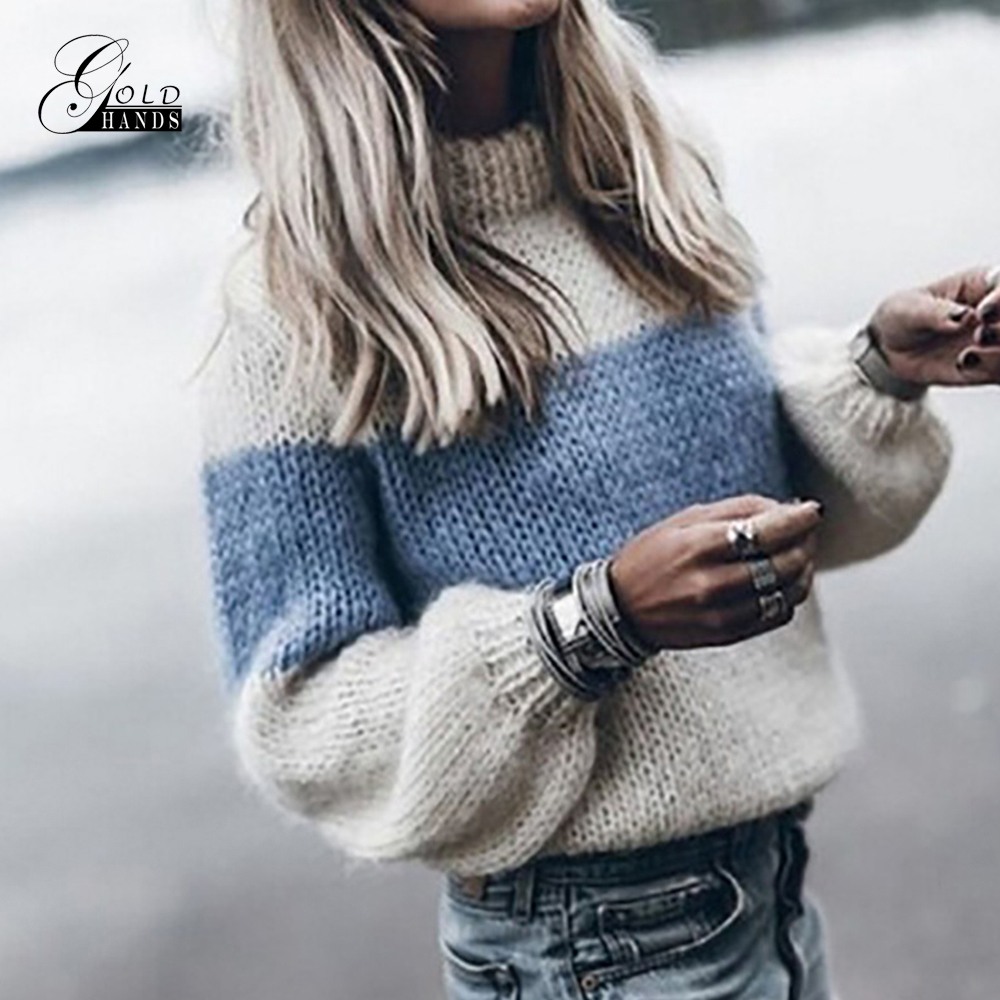 Gold Hands 2019 Autumn Winter Fashion Warm Clothes Women Loose Knitted Sweater Long Sleeve O-Neck PatchWork Pullover Sweaters