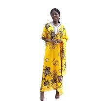 2020 Fashion African Dashiki Floral Print Yellow Pure Cotton Appliques Long Dress Dresses for women