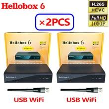 [2PCS] Hellobox 6 Satellite Receiver Support H.265 HEVC T2MI USB WiFi Auto Powervu Biss Cline Newcamd Comptatible V5 Plus