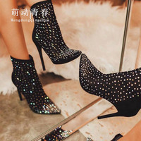 35 42 Plus Size Women Ankle Boots Sexy Crystal Rhinestones High Heeled Boots Mujer Female Autumn Winter Zip Party Boots Pumps