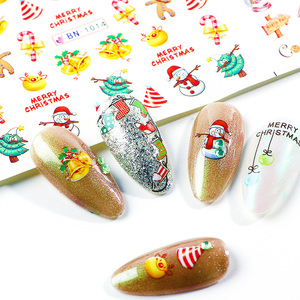 Image 4 - Xmas Cool Santa Stickers Voor Nagels Sneeuwvlok Bloemen Nail Kerst Stickers Nail Art Winter Lijm Sliders Manicure CHBN/A 1