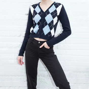 Women V Neck Knit Cardigan In Navy Blue With Light Blue And White Argyle Print On The Front v neck overlay dot print design playsuit in white