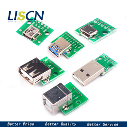 Микро-мини-usb USB A папа USB 2,0 3,0 A гнездо USB B разъем интерфейс к 2,54 мм DIP PCB адаптер-конвертер, разделочная плата