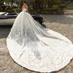 Image 2 - Adoly Mey Glamorous Appliques Royal Train Lace Ball Gown Wedding Dress 2020 V Neck Beaded Off the Shoulder Princess Bridal Dress