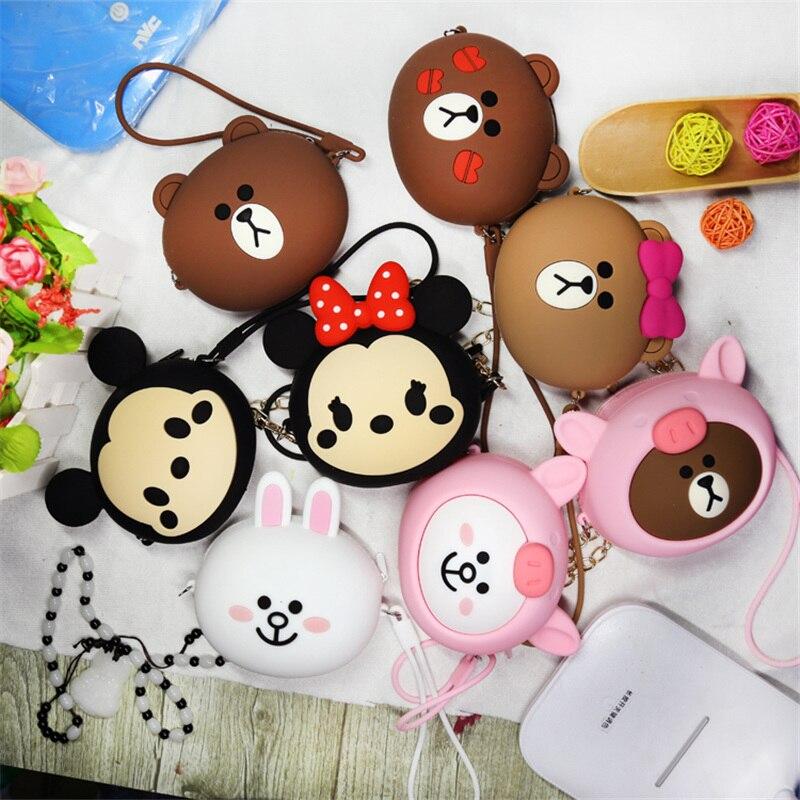 Fashion Coin Purse For Girls Gift Cartoon Zipper Coin Wallet Chain Mini Crossbody Bag Silicone Purse Small Headphone Storage Bag