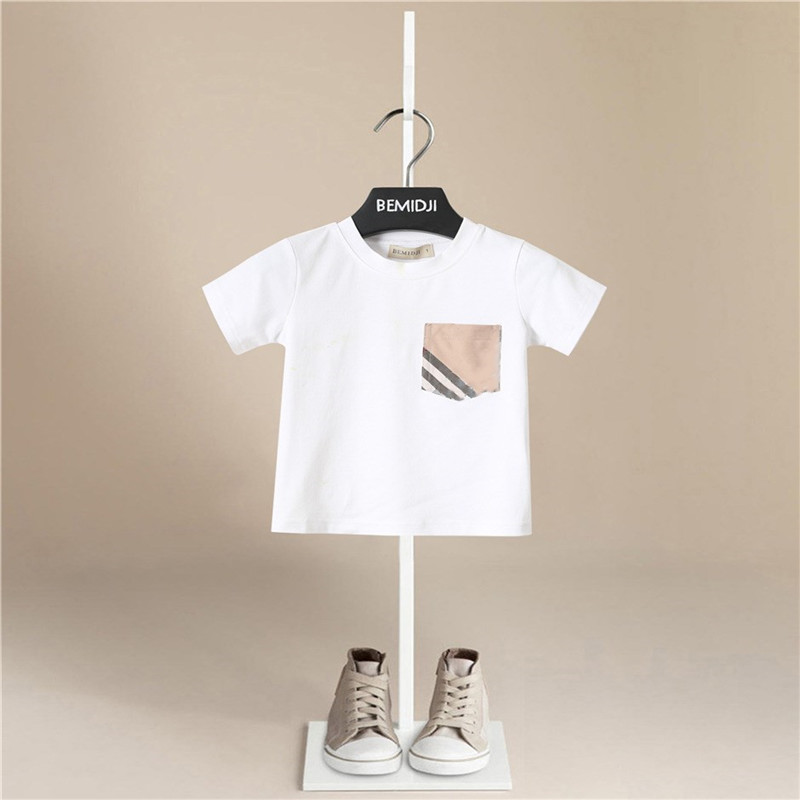 Children Tops Kids Clothes Girls Cotton T Shirts For Baby Boys Short Sleeve Summer T-Shirts Leisure 2020 Cotton Stripe Pocket