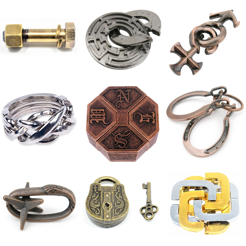Vintage Nostalgia Metal Puzzle Box Lock Puzzle Adult Intelligence Toy Alloy IQ EQ Mind Brain Teaser Kid Gift