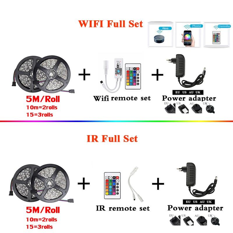 RGB LED Strip Light SMD 2835 5M Waterproof RGB Tape DC12V Ribbon diode led Strips Light Flexible Stripe Lamp IR WIFI Controller 4