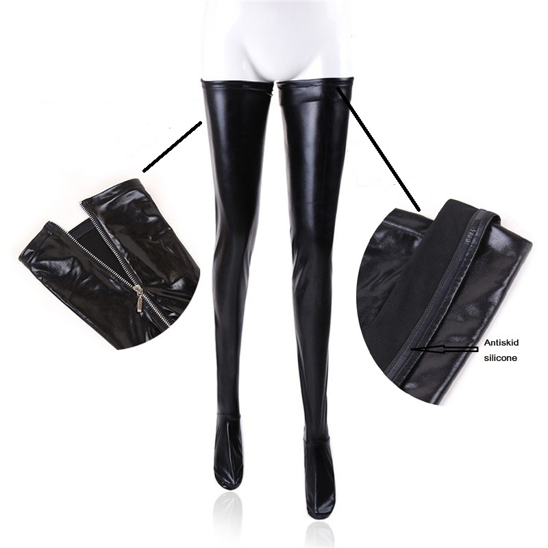 Women Fetish Lingerie Sexy Faux Leather Thigh High Stockings Back Zipper Erotic Clubwear Latex Style Hot Pants Trousers