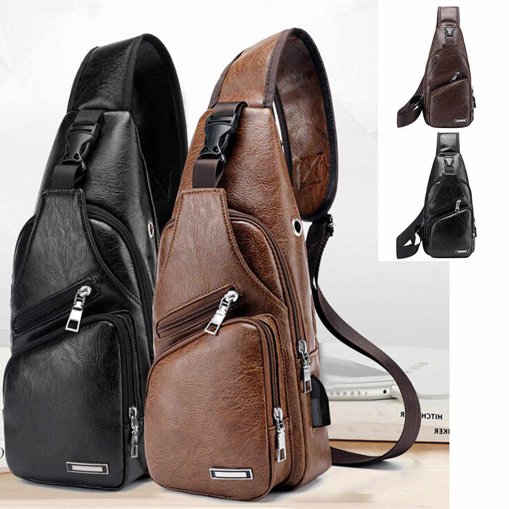 New Men's Chest Bag USB Charging Crossbody Bags PU Leather Shoulder Bag Diagonal Package Back Pack Travel Outdoors Messenger Bag