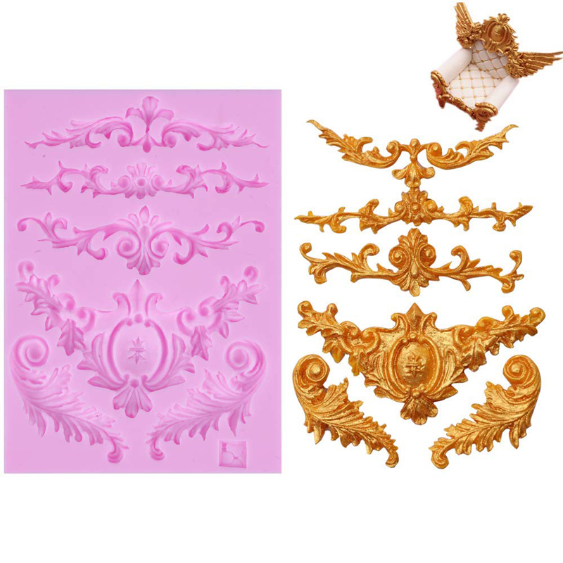 DIY 3D Sculpted Flower Royal Lace Baroque Scroll Silicone Mold Fondant Mold Cupcake Cake Decoration Tool