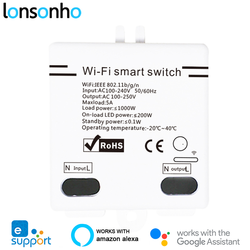 Lonsonho EWeLink Wifi Smart Switch DIY Relay 5A Smart Home Automation Wireless Remote Control Works With Alexa Google Home Mini