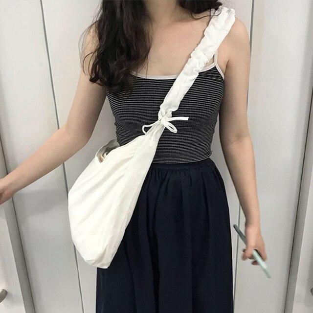 Women's Bag Korean Art Canvas Bag Drawstring Wide Shoulder Strap Messenger Bag Female Student Shoulder School Bag 3
