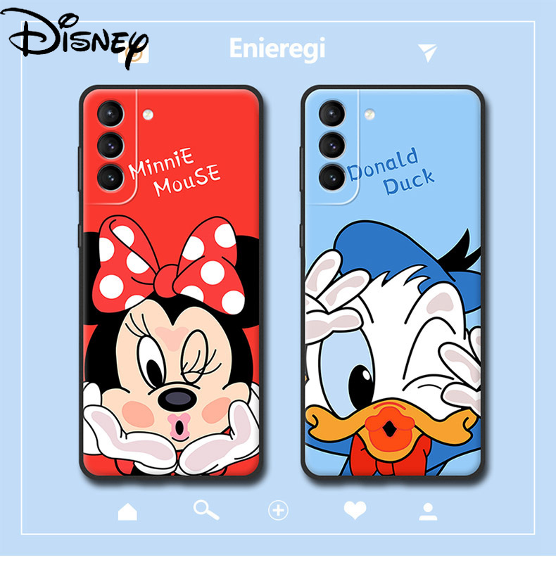 Disney is suitable for Samsung S21Ultra mobile phone case Galaxy S21+ glass case s30 s21plus Donald Duck Mickey Minnie