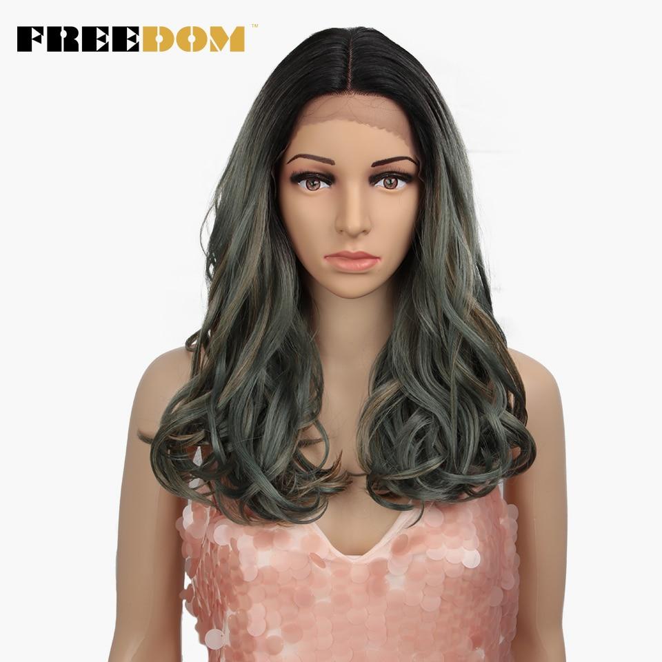 Perruque Lace Front Wig synthétique de 20 pouces-FREEDOM   Perruques vertes blondes frisées résistantes à la chaleur à la mode sur INS naturelles
