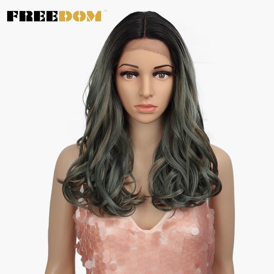 FREEDOM perruque de dentelle synthétique 20 pouces Ombre Blond vert perruques pour les femmes noires résistant à la chaleur mode sur INS naturel