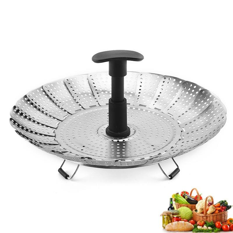 11-Inch 430 Stainless Steel Sanding Stretching Nylon Handle Steamer Kitchenware Filter Fruit Plate Folding Steaming Rack