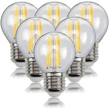 Lâmpada led transparente 6, pçs/lote, 4w, 8w, 12w, e27, e14, 220v, g45, quente/lâmpada para economia de energia, filamento branco frio, globe de edison