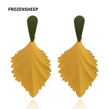 FROZENSHEEP fashion new Leaf Dangle Earrings For Women 7colors Paint Metal Geometric Drop earrings elegant Statement jewelry metal leaf layered drop earrings