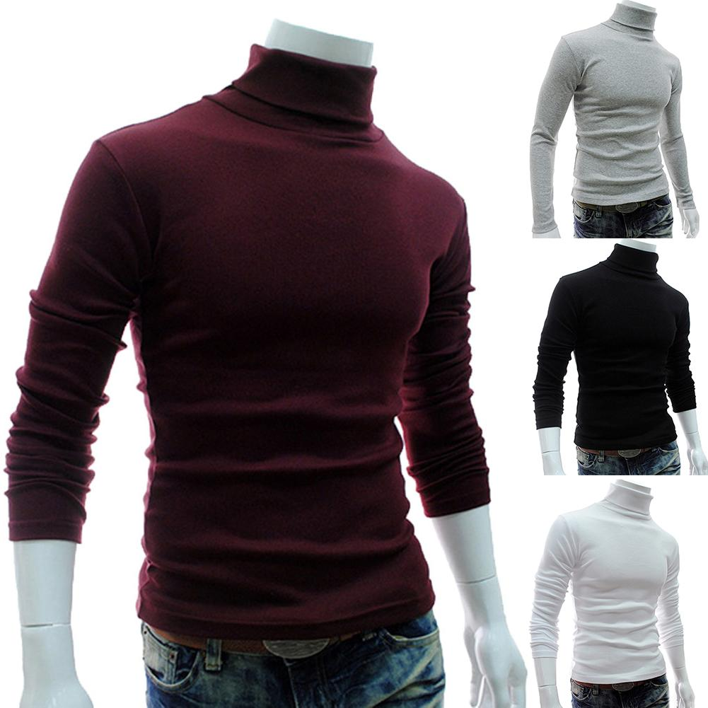 Fashion Men Sweater Solid Color Long Sleeve Turtleneck Sweater In Men's Pullovers Knitted Sweater Men Jersey Hombre Cuello Alto