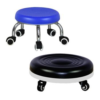 Creative wheeled stool round sofa  dwarf seam cleaning mat  foot pulley  movement