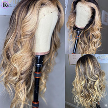 RULINDA Highlight Ombre 13X4 Body Wave Lace Front Human Hair Wigs Pre plucked Brazilian Remy Human Hair Lace Wigs For Women