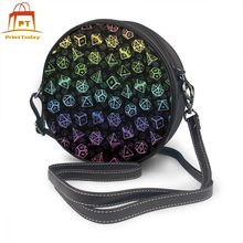 Games Shoulder Bag D20 Dice Set Pattern Leather Print High quality Women Bags Multifunction Teenage Trending Round Purse