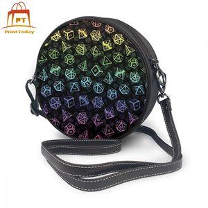 Image 1 - Games Shoulder Bag D20 Dice Set Pattern Leather Bag Print High quality Women Bags Multifunction Teenage Trending Round Purse
