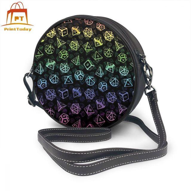 Games Shoulder Bag D20 Dice Set Pattern Leather Bag Print High quality Women Bags Multifunction Teenage Trending Round Purse