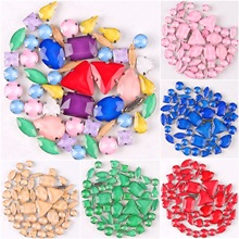 Silver claw settings 50pcs/bag shapes mix  jelly candy colors mix glass crystal sew on rhinestone wedding dress shoes bags diy