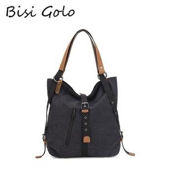 BISI GORO 2020 Fashion Travel Bags Black Canvas Large Capacity Women Shoulder Bag Messenger Multifunctional Female New