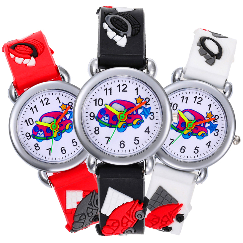 Black Car Cartoon Kids Watches Soft Silicone Band Digital Quartz Children Watch For Boys Girls Gift Baby Clock Relogio Infantil