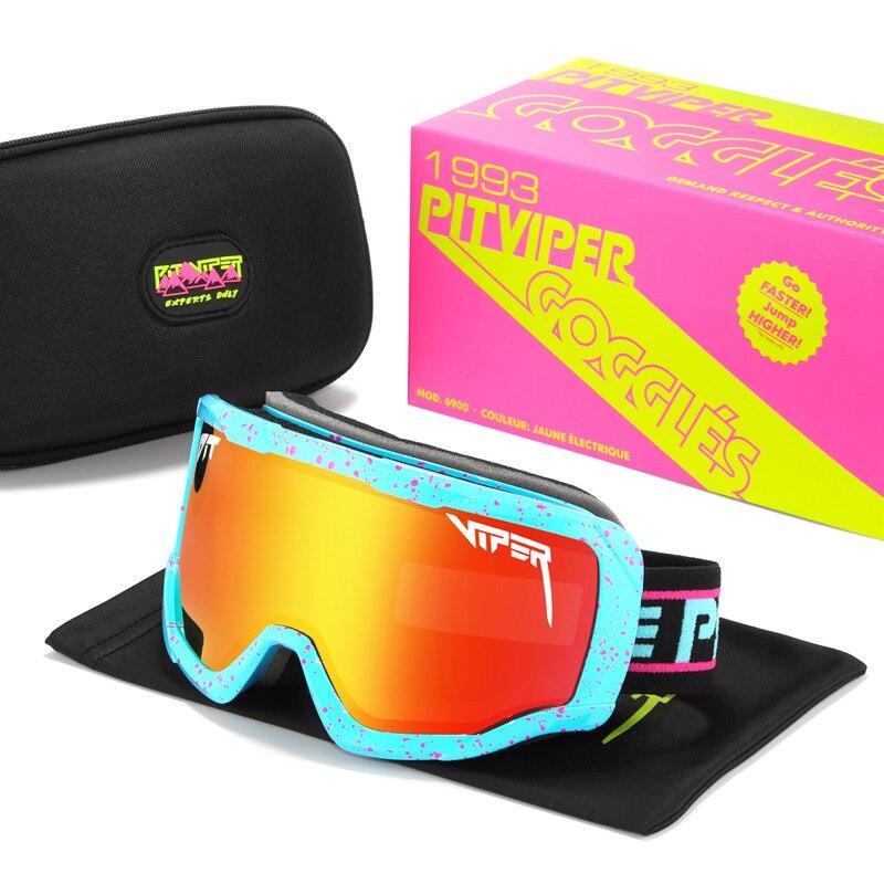 Pit Viper Анти-туман ветрозащитный очки Безопасность UV400 изумленный взгляд Одна деталь зеркало горные спортивные оттенков с красной коробкой