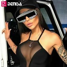 DENISA Shining Imitation Diamond Shield Sunglasses Women Men Diamond Decoration