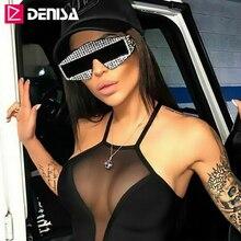 DENISA Shining Imitation Diamond Shield Sunglasses Women Men