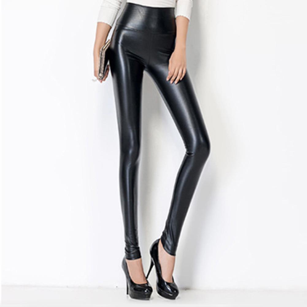 2019 Winter Women Faux Leather Pants PU Elastic High Waist Trousers Stretchy Slim Pencil Pants Leggings Female Black