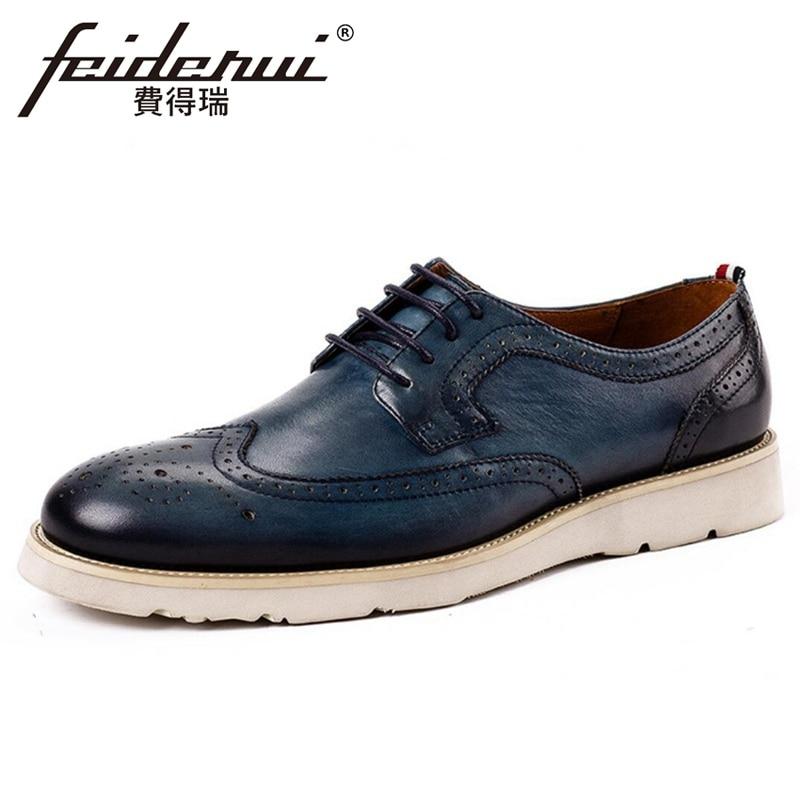 Nouvelle mode en cuir véritable hommes à la main plate-forme Oxfords bout rond lacets homme confortable Wingtip Brogues chaussures KUD275