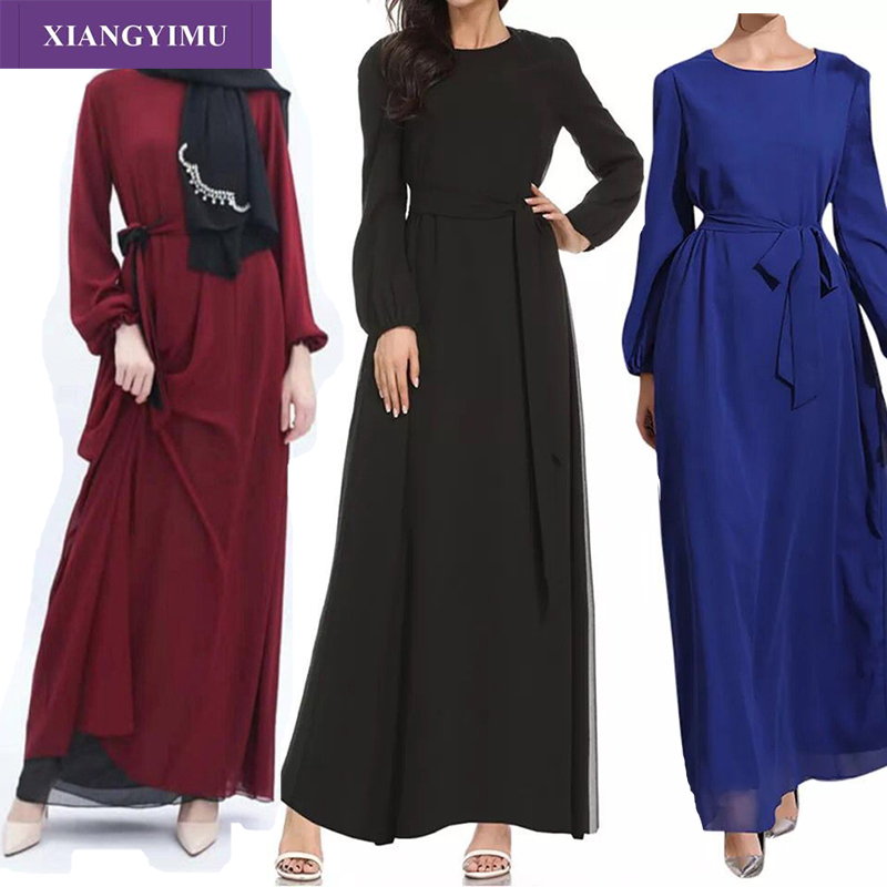 F888-6 New Moroccan Kaftan Abaya Vestido Terciopelo Chaplet Islamique Muslim Women Long Sleeve Print Middle East Ruffle Dress